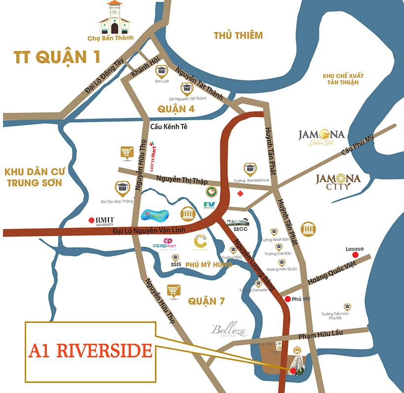 Vị trí căn hộ A1 Riverside Quận 7