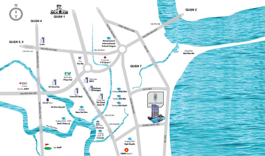 Vị trí địa chỉ dự án căn hộ chung cư An Gia Skyline Quận 7 đường Hoàng Quốc Việt chủ đầu tư An Gia Investment