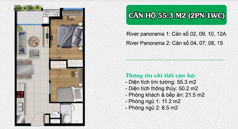 thiết kế căn hộ River Panorama 55.3m2