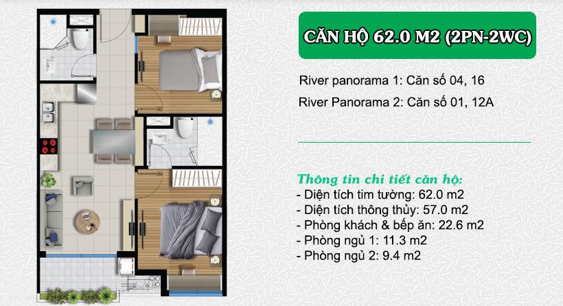 Thiết kế căn hộ River Panorama 62.0m2