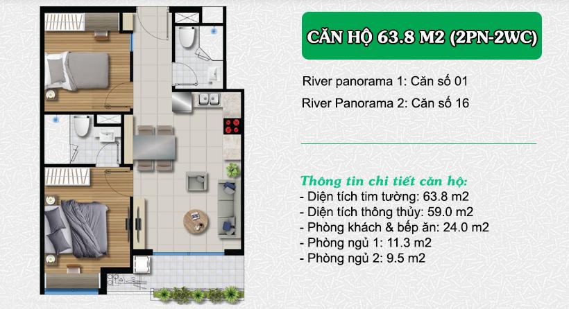 Thiết kế căn hộ River Panorama 63.8m2