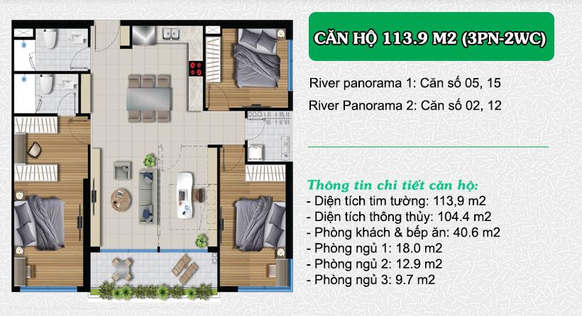 Thiết kế căn hộ River Panorama 113m2