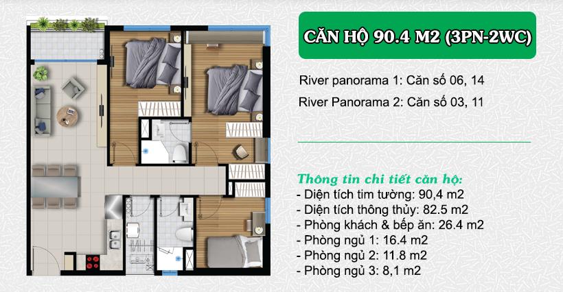 Thiết kế căn hộ River Panorama 90.4m2