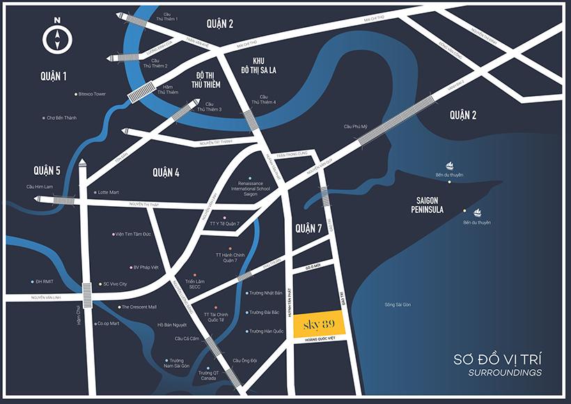 Vị trí địa chỉ dự án căn hộ chung cư Sky 89 đường Hoàng Quốc Việt Quận 7 chủ đầu tư An Gia
