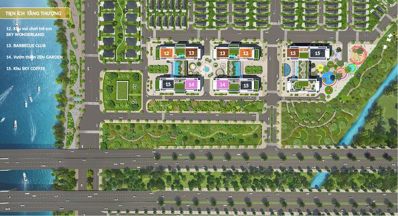 Mặt bằng tiện ích sân thượng căn hộ Dream Home Riverside Quận 8