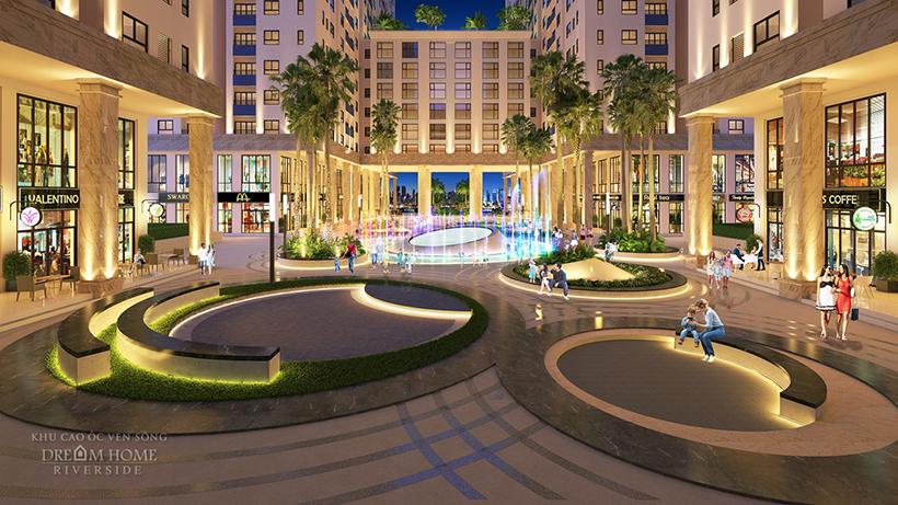 Quảng trường nước - công viên trung tâm căn hộ Dream Home Riverside