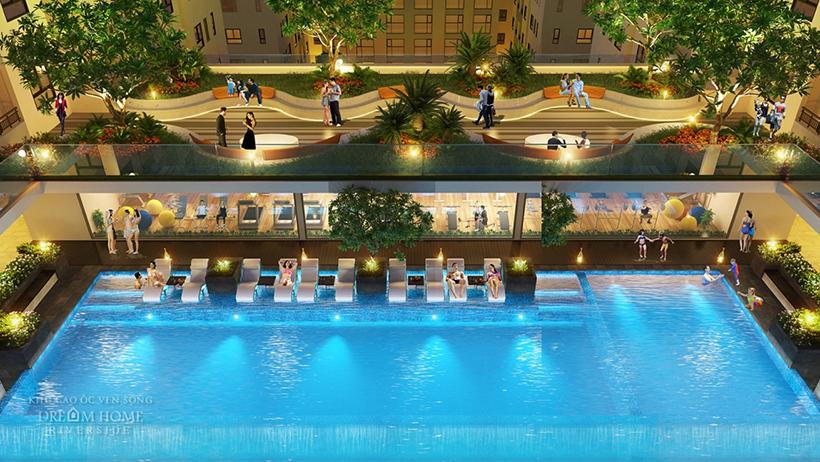 Hồ bơi trên tầng 8 khu căn hộ Dream Home Riverside