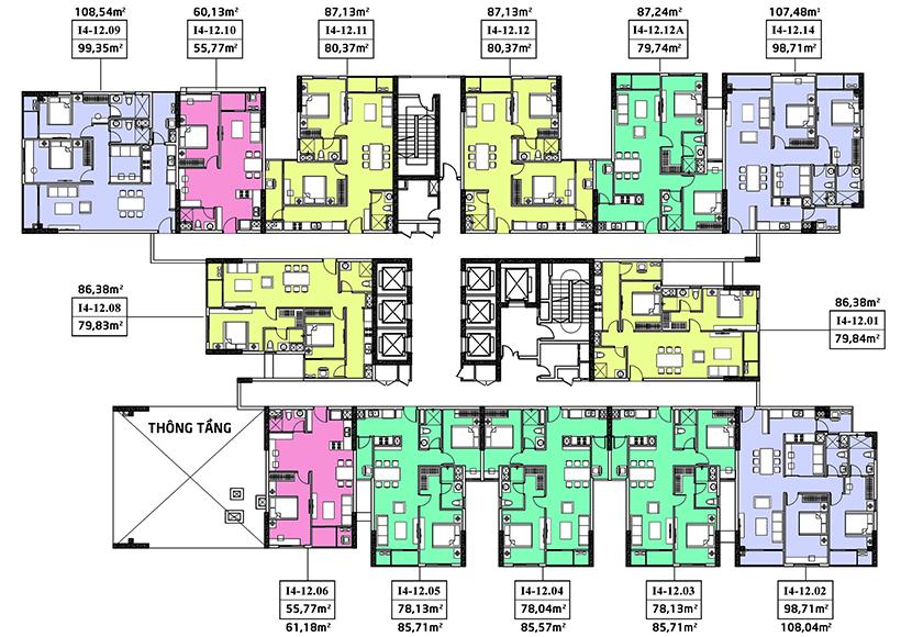 mặt bằng căn hộ hà đô centrosa garden tháp iris 4