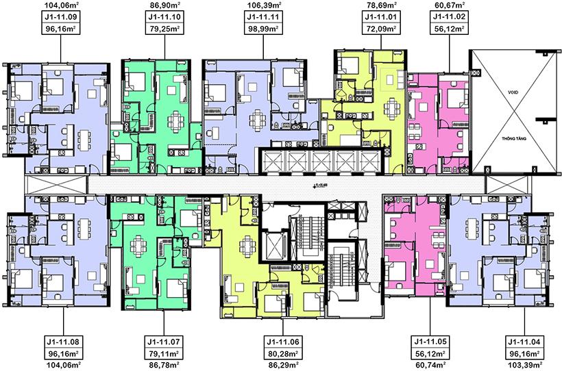 mặt bằng căn hộ hà đô centrosa garden tháp jasmine 1