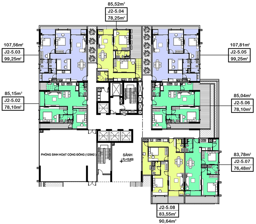 mặt bằng căn hộ hà đô centrosa garden tháp jasmine 2