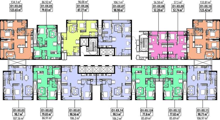 mặt bằng căn hộ hà đô centrosa garden tháp orchid 1