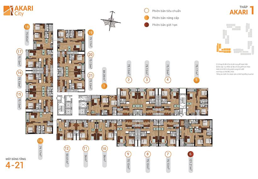 Mặt bằng căn hộ Akari City tháp akari 1