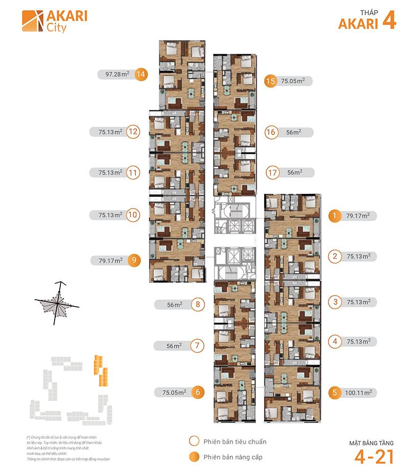 Mặt bằng căn hộ Akari City tháp akari 4