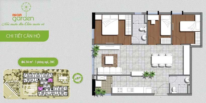 Mặt bằng căn hộ The Garden Quận Tân Phú