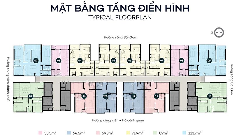 Mặt bằng dự án căn hộ chung cư Sky 89 Quận 7 Đường Hoàng Quốc Việt chủ đầu tư An Gia