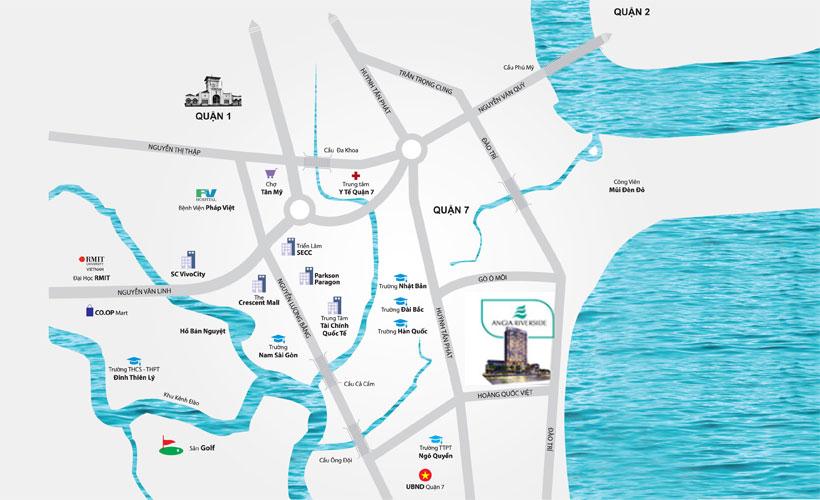 Vị trí địa chỉ dự án căn hộ chung cư An Gia Riverside Quận 7 Đường Đào Trí chủ đầu tư An Gia Investment