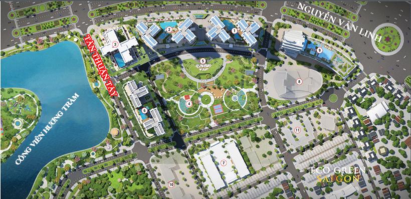 Quy mô tổng thể dự án căn hộ chung cư Eco Green Sài Gòn Quận 7 Đường Nguyễn Văn Linh chủ đầu tư Xuân Mai