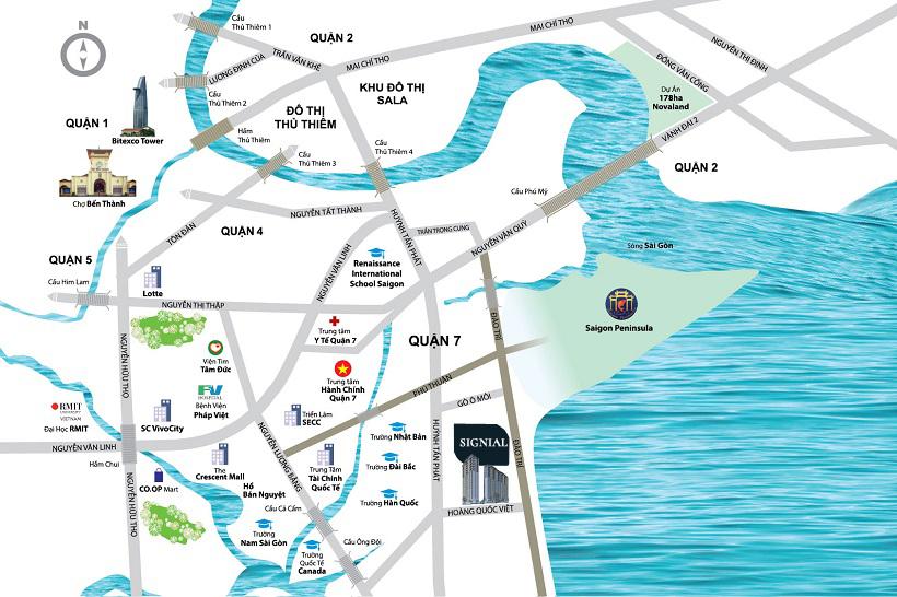 Vị trí địa chỉ dự án căn hộ chung cư Signial Quận 7 Đường Hoàng Quốc Việt chủ đầu tư An Gia Investment