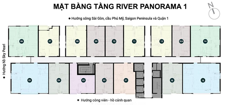 Mặt bằng dự án căn hộ chung cư River Panorama Quận 7 Đường Hoàng Quốc Việt chủ đầu tư An Gia Investment