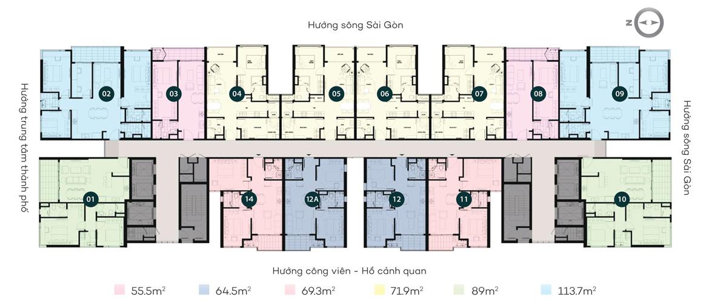 Mặt bằng tầng điển hình căn hộ chung cư Sky 89 quận 7 đường Đào Trí