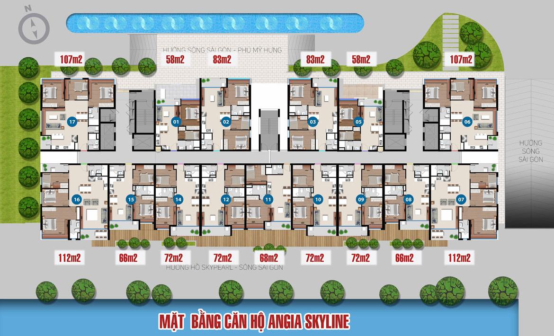 Mặt bằng dự án căn hộ chung cư Skyline Quận 7 Đường Hoàng Quốc Việt chủ đầu tư An Gia