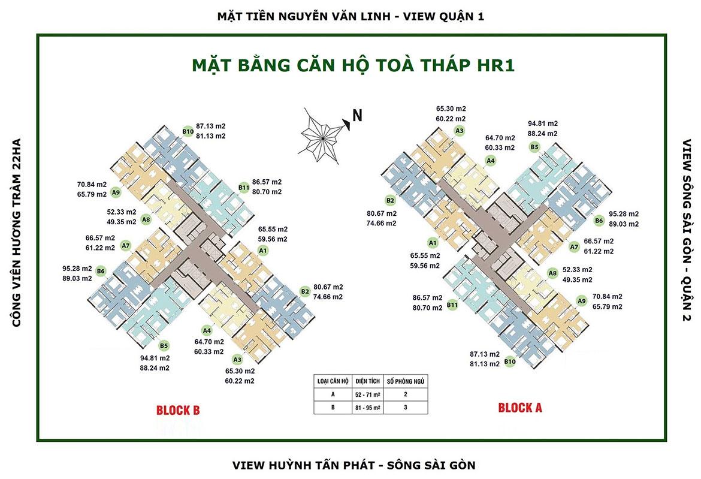 Mặt bằng dự án căn hộ chung cư Eco Green Sài Gòn Quận 7 Đường Nguyễn Văn Linh chủ đầu tư Xuân Mai