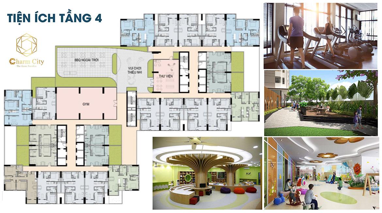 Tiện ích dự án căn hộ chung cư Charm City Bình Dương Đường DT743 chủ đầu tư DCT GROUP