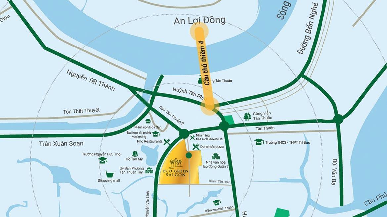 Vị trí địa chỉ dự án căn hộ chung cư Eco Green Sài Gòn Quận 7 Đường Nguyễn Văn Linh chủ đầu tư Xuân Mai