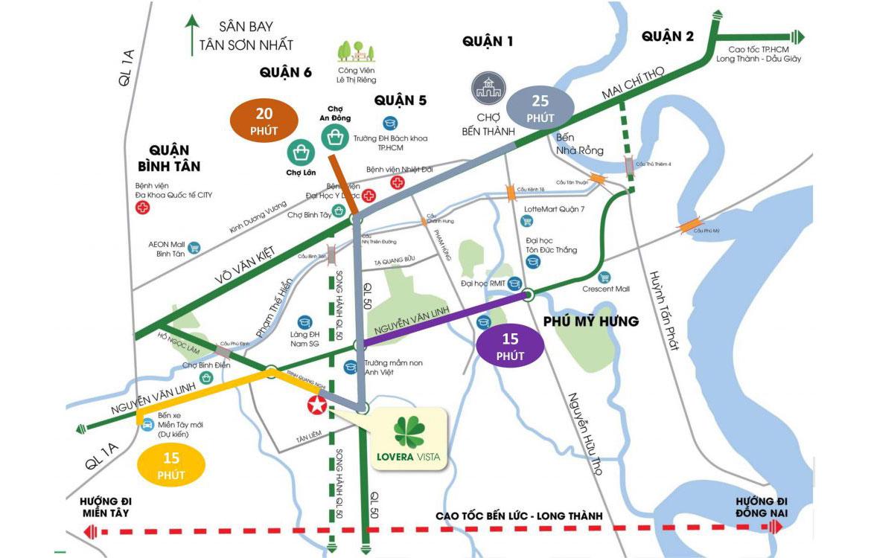 Vị trí địa chỉ dự án căn hộ chung cư Lovera Vista Bình Chánh Đường Trịnh Quang Nghị chủ đầu tư Khang Điền