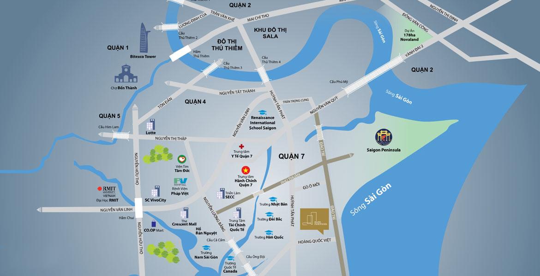 Vị trí địa chỉ dự án căn hộ chung cư River Panorama Quận 7 Đường Hoàng Quốc Việt chủ đầu tư An Gia Investment