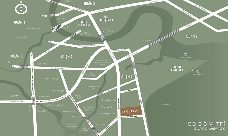 Vị trí địa chỉ dự án căn hộ chung cư Signial Quận 7 Đường Hoàng Quốc Việt chủ đầu tư An Gia