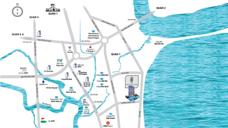 Vị trí địa chỉ dự án căn hộ chung cư Skyline Quận 7 Đường Hoàng Quốc Việt chủ đầu tư An Gia