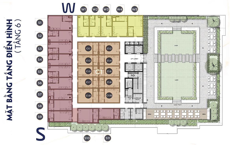 Mặt bằng dự án căn hộ chung cư The Alleys Quận Bình Tân Đường Lê Văn Quới chủ đầu tư TTL Group