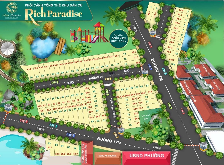 Mặt bằng dự án đất nền khu dân cư Rich Paradise Quận Bình Tân liên hệ 0909509679