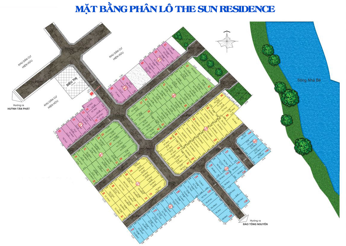Mặt bằng phân lô dự án đất nền nhà phố The Sun Residence Nhà Bè Đường Huỳnh Tấn Phát TPHCM