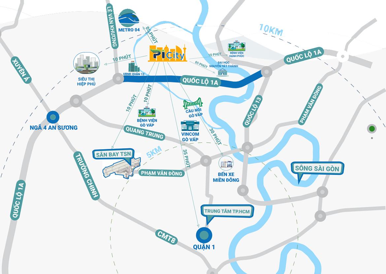 Vị trí địa chỉ dự án căn hộ Picity High Park Quận 12