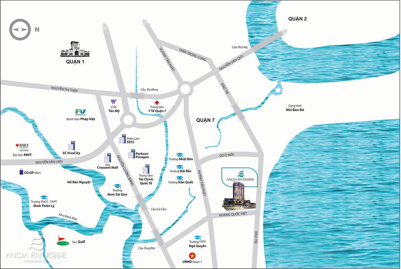 Vị trí địa chỉ dự án căn hộ chung cư Riverside Quận 7 Đường Đào Trí chủ đầu tư An Gia Investment