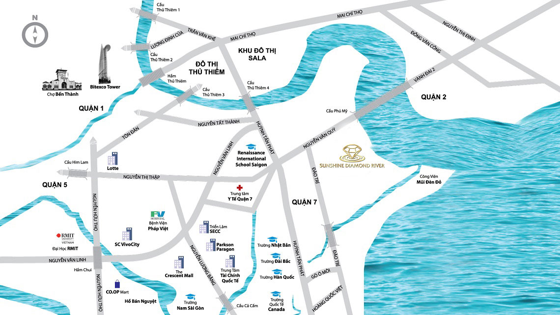 Vị trí địa chỉ dự án căn hộ chung cư Sunshine Diamond River Quận 7 Đường Đào Trí chủ đầu tư Sunshine Group