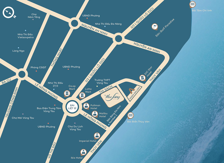 Vị trí địa chỉ dự án căn hộ du lịch The Sóng Vũng Tàu Đường Thi Sách chủ đầu tư An Gia