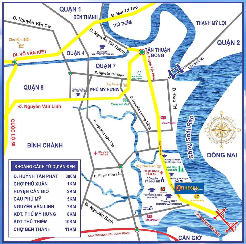 Vị trí địa chỉ dự án đất nền nhà phố khu dân cư The Sun Residence Nhà Bè Đường Huỳnh Tấn Phát TP.HCM