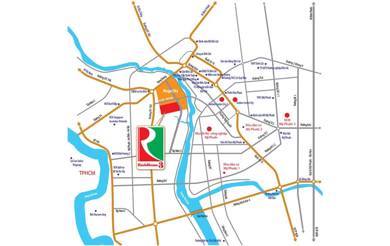 Vị trí địa chỉ dự án nhà phố Richhome 3 Bình Dương Đường Hùng Vương chủ đầu tư Kim Oanh Group