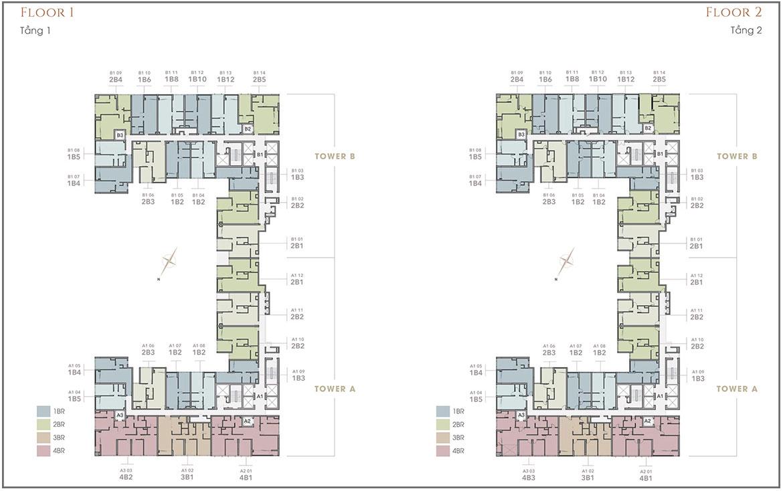 Mặt bằng dự án căn hộ chung cư The Marq Quận 1 Đường Nguyễn Đình Chiểu chủ đầu tư HongKong Land & Hoa Lâm