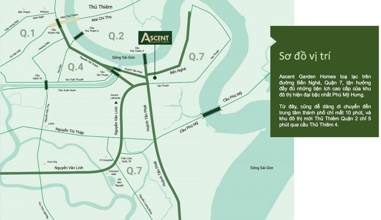 Vị trí địa chỉ dự án căn hộ chung cư Ascent Garden Homes Quận 7 Đường Bến Nghé chủ đầu tư Tiến Phát