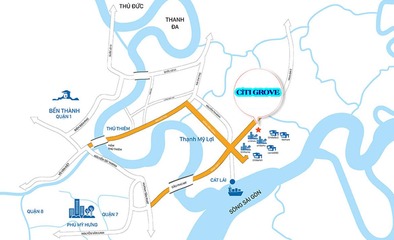 Vị trí địa chỉ dự án căn hộ chung cư Citi Grove Quận 2 Khu Cát Lái chủ đầu tư Kiến Á