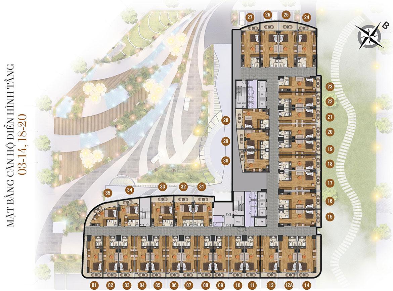 Mặt bằng dự án căn hộ condotel Peninsula Nha Trang Đường KĐT Biển An Viên chủ đầu tư Công ty cổ phần đầu tư điện lực Hà Nội