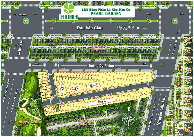 Mặt bằng dự án đất nền nhà phố Pearl Garden Bình Tân Đường Nguyễn Cửu Phú