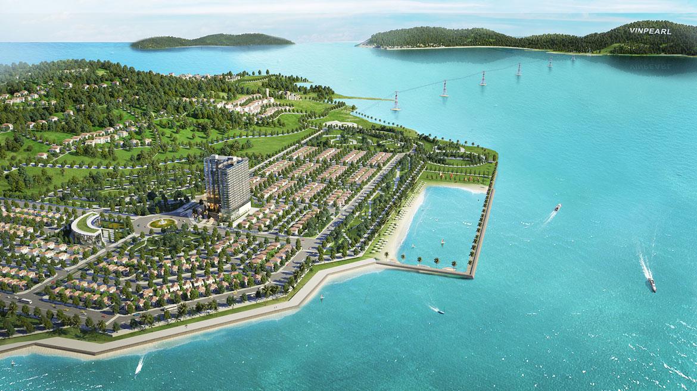 Phối cảnh tổng thể condotel Peninsula Nha Trang Đường KĐT Biển An Viên chủ đầu tư Công ty cổ phần đầu tư điện lực Hà Nội