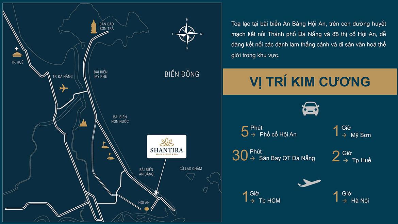 Vị trí địa chỉ dự án biệt thự nghỉ dưỡng căn hộ condotel Shantira Beach Resort Hội An