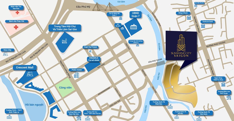 Vị trí địa chỉ dự án căn hộ chung cư Sunshine City Sài Gòn Quận 7 Đường Phú Thuận chủ đầu tư Sunshine Group