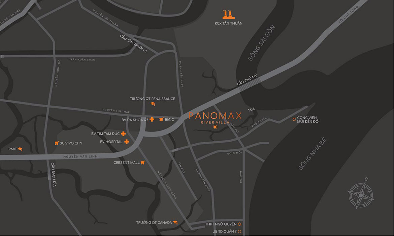 Vị trí địa chỉ dự án căn hộ chung cư Panomax River Villa Quận 7 Đường Đào Trí chủ đầu tư TTC LAND